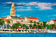 Split, Croatia (region of Dalmatia). Diocletian Palace and Mosor mountains in background